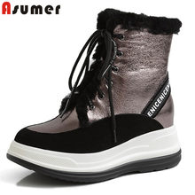ASUMER 2020 winter shoes women 100% nature wool snow boots genuine leather lace up warm comfortable platform ankle boots women(China)