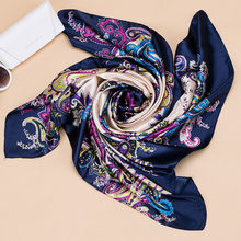 Scarf Silk Satin Women Summer Square Small Bag Wrap Bohemian Retro Ladies Scarves Indian Muslim Islamic Kerchief HeadBand Hats D