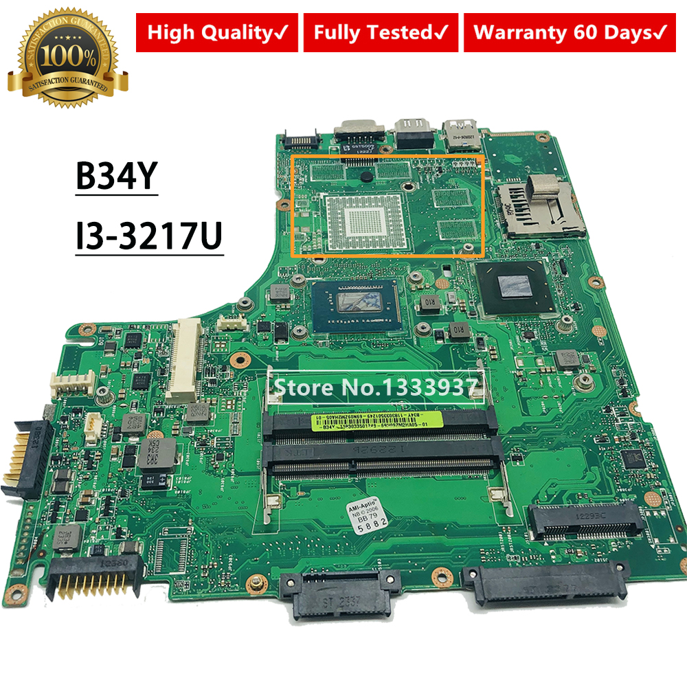 For ASUS B34Y Mainboard REV.2.0 SR0N9 I3-3217U Laptop Motherboard