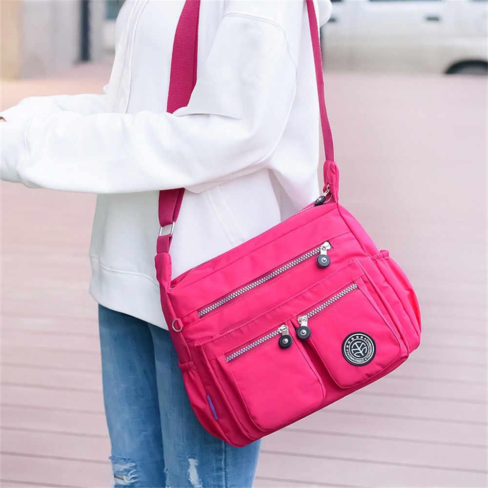 Moda damska jednolity kolor wodoodporny Nylon torba na ramię torba Crossbody 2019 luksusowe torebki damskie torby Bolsa Feminina Sac