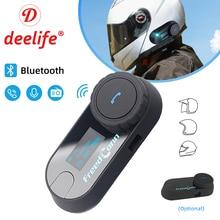 Deelife motocicleta interfone capacete fone de ouvido bluetooth mãos livres para moto sem fio fones de ouvido com microfone comunicador