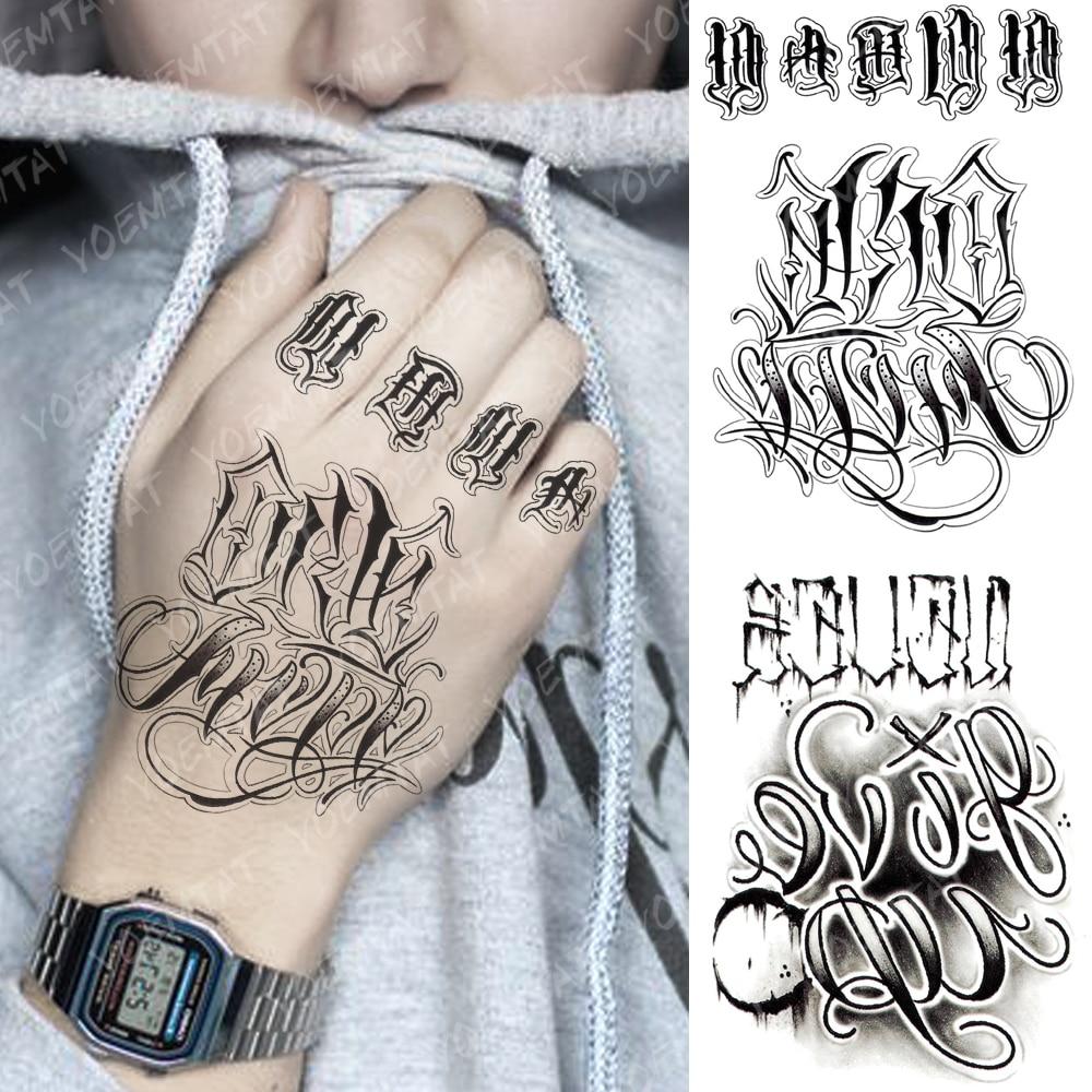 Waterproof Temporary Tattoo Sticker Gothic Text Letter Fake Tatto Flash Tatoo Hand Arm Foot Back Tato Diamond Star Body Art