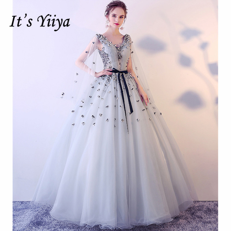 It's Yiiya   Evening     Dresses   2019 Plus Size Sexy V-Neck Sleeveless Floor Length Applique Lace Up Formal Party Robe de soiree LX990