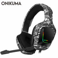 ONIKUMA K20 PS4 Headset Gaming Headphone with Microphone LED Light Surround Sound Bass PC Gamer Headphone for New Xbox One Phone