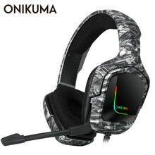 ONIKUMA K20 PS4 Headset Gaming Headphone with Microphone LED Light Surround Sound Bass PC Gamer Headphone for New Xbox One Phone все цены