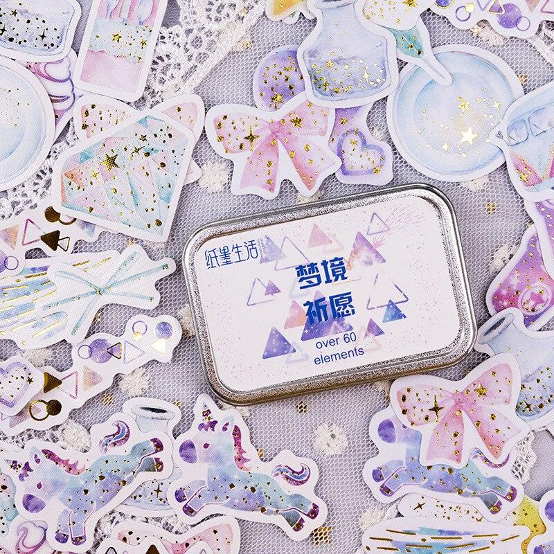 Dream Prayer Series Iron Box Decorative Stickers Scrapbooking Stick Label Diary Stationery Album Stickers