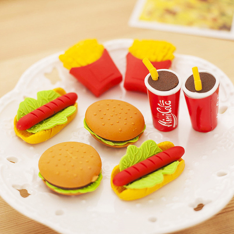 5 Styles Cute Pencil Eraser Novelty French Fries Hot Dog Hamburger Food Colorful Rubber Eraser Stationery Correction Supplies