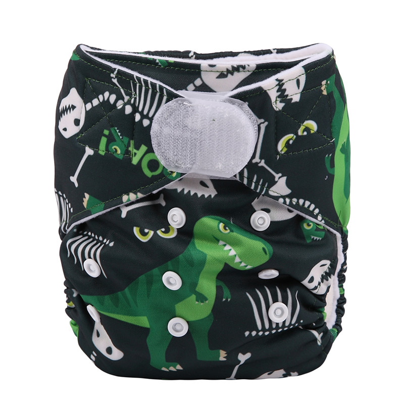 [Sigzagor] 1 тканевый подгузник с карманами для детей, подгузник с застежкой-липучкой, с широкими полосками на талии - Цвет: DV18