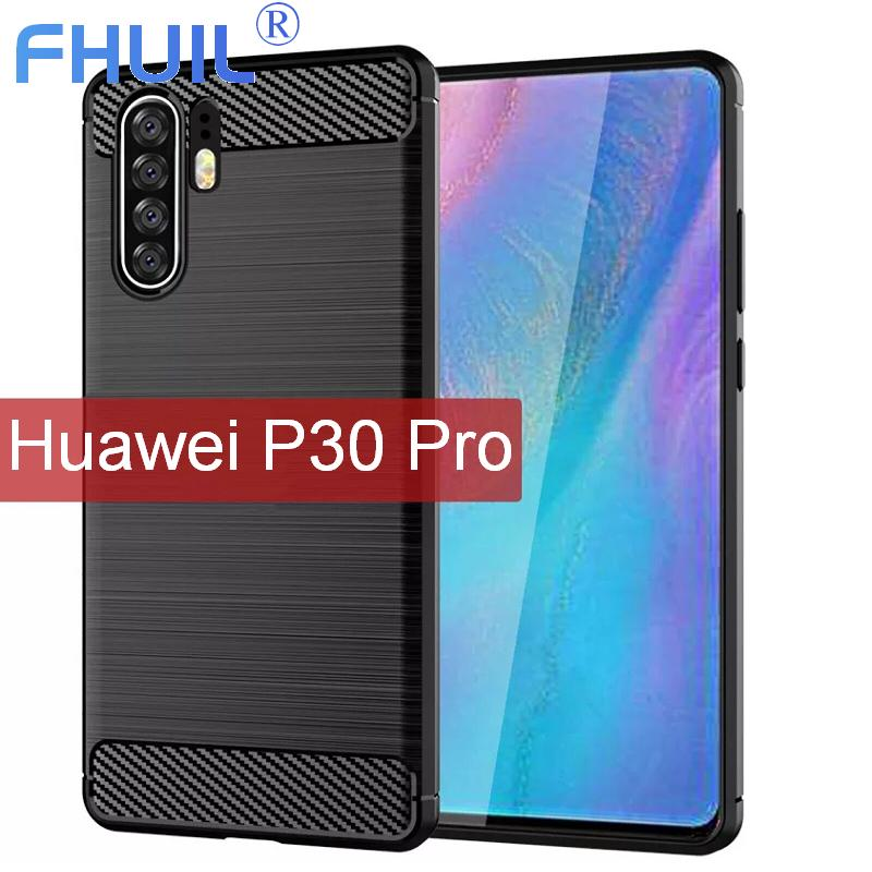 FHUIL Phone Case For HUAWEI P30 PRO Carbon Fiber Bumper Shockproof TPU Cases huawei p30 pro Silicone Cove Mobile