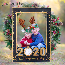 2020 Happy New Year Paper Photo Frame Props Eve Party Decoration Gold Black Booth natale new kids adult gift