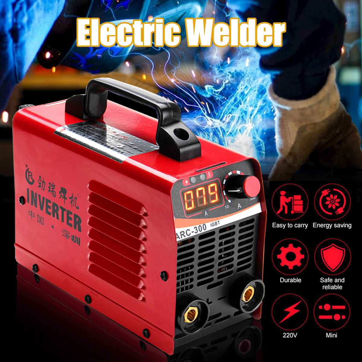 ARC-300 220V LCD Electric IGBT Inverter MMA ARC ZX7 Portable Welding Machine Arc Welders (Ramdom Color)