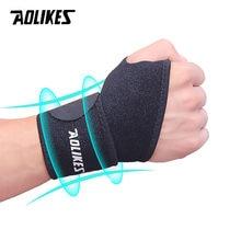 AOLIKES-muñequera de soporte para muñeca ajustable, refuerzo para vendaje de muñeca deportiva, envolturas de compresión, alivio del dolor de tendinitis, 1 unidad