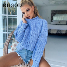 RUGOD Elegant solid knitted women sweater Autumn Winter Casual Pullover Jumpers female Harajuku Oversized Turtleneck Sweaters
