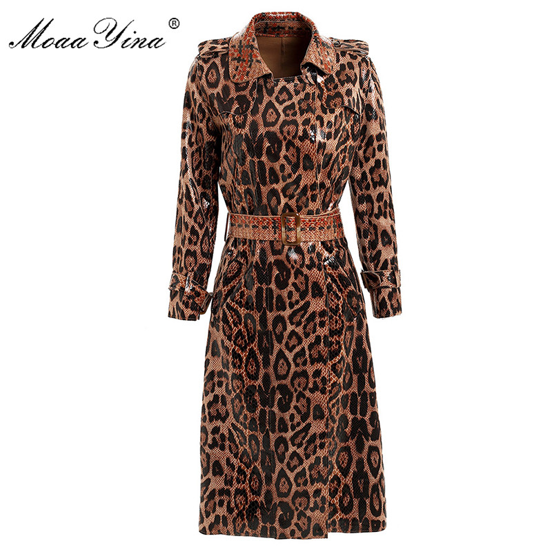 MoaaYina Fashion Windbreaker Overcoat Autumn Winter Women Long Sleeve Snakeskin Pattern Print Lace-Up Keep Warm Overcoat