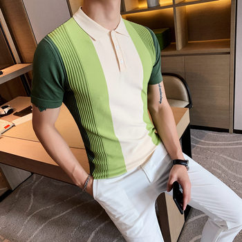 British Style Summer Knitted Polo Shirt Men Short Sleeve Fashion 2020 Patchwork Color Polo Homme Slim Fit Casual Mens Polos 3XL new fashion polos high quality mens print short sleeve polo cotton casual polo shirt homme comfortable