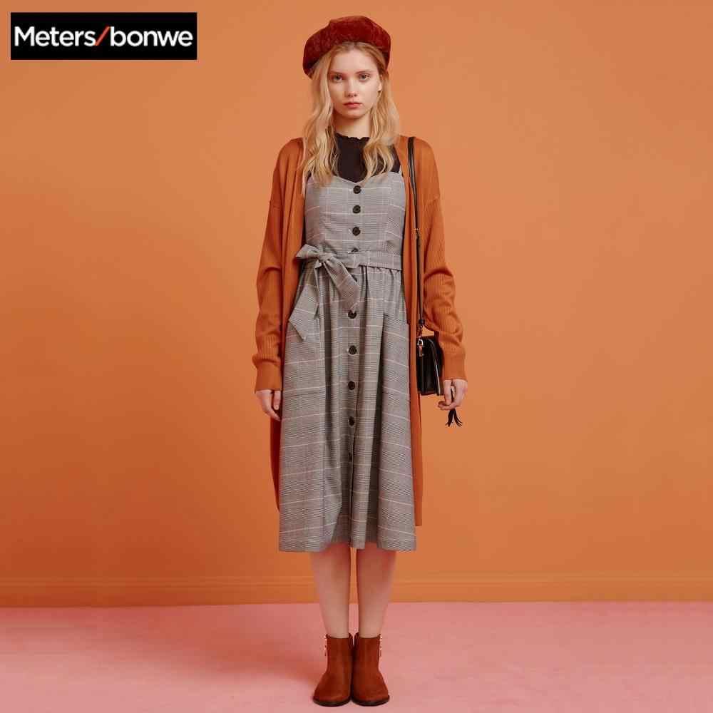 Metersbonweยาวถักเสื้อสเวตเตอร์ถักผู้หญิงฤดูใบไม้ผลิฤดูใบไม้ร่วงSimple Office Ladyเสื้อผ้าแฟชั่นเสื้อสเวตเตอร์ถักหญิงOL