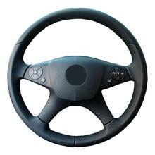 De cuero genuino protector para volante de coche para Mercedes Benz W204 Clase C 2007-2010 C280 C230/Dirección de manillar trenza