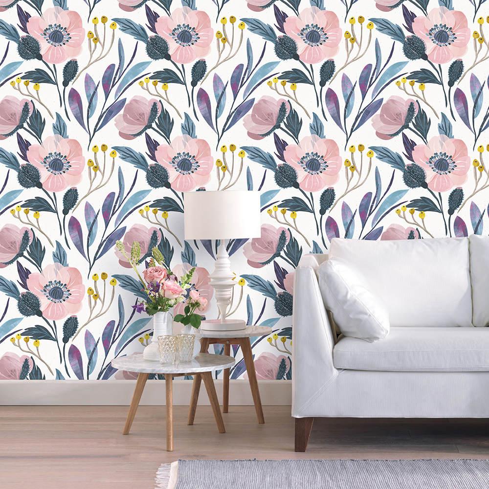 3M/Roll Watercolor Peony Floral Peel And Stick Wallpaper Removable Multi-Color Self Adhesive Paper For Bedroom Home Decorative