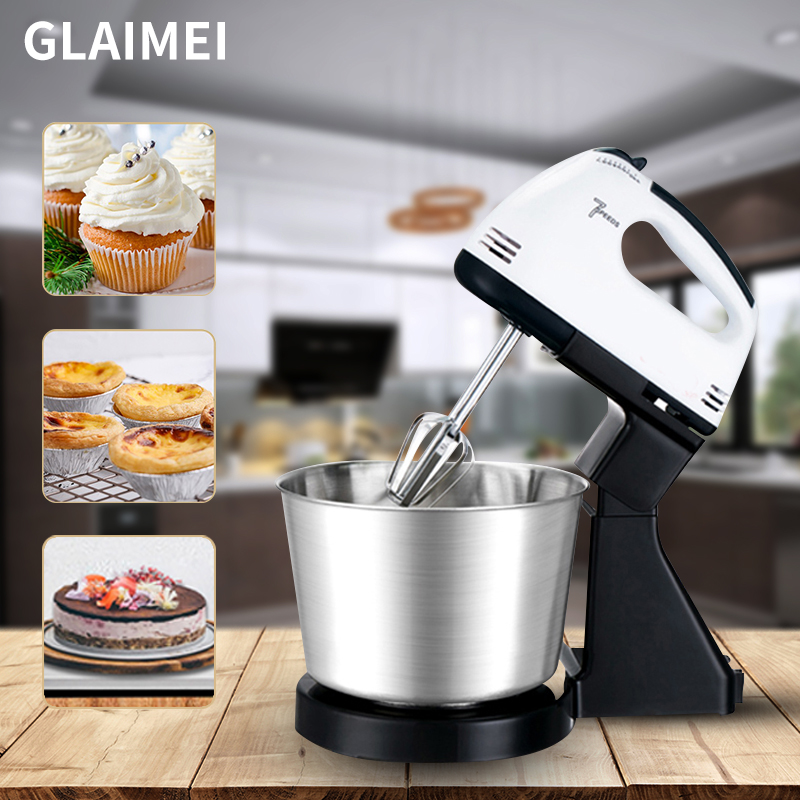 Electric Food Mixer 7 Speed Table Stand Cake Dough Mixer Handheld Egg Beater Blender Baking Whipping Cream Machine
