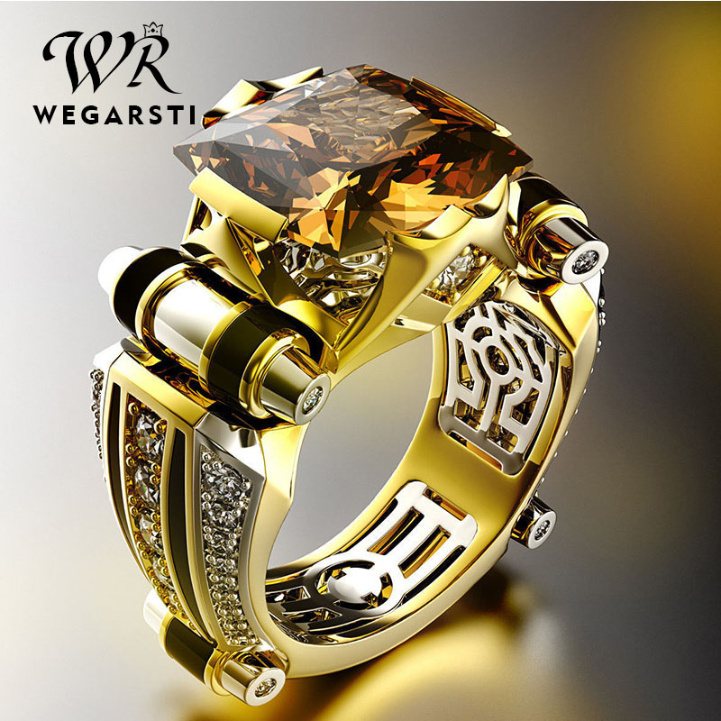 WEGARSTI Trendy Garnet Ring Gemstones Natural Jewelry 925 Sterling Silver Rings For Men Silver Ring Moissanite Ruby Topaz Ring