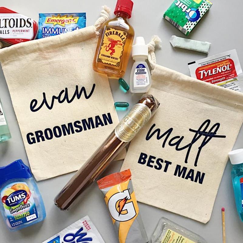 Groomsman Hangovers Kit Bag Customize Bachelorette Party Gift Bag Wedding Favor Bag Best Man Emergency Survival Kit Welcome Bags