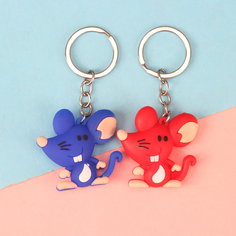Lovely PVC Silicone Mouse Keychain Girls Bag Hanging Ornaments Cute Funny Rat Keyring Accessories Car Key Chain Pendant