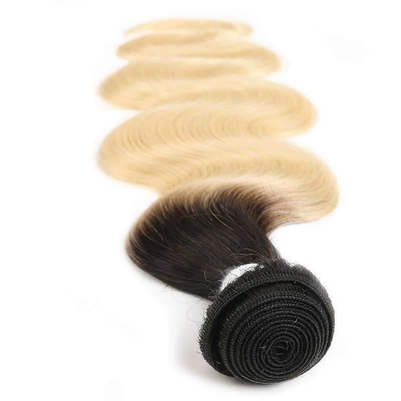 613 светлые пучки с фронтальной бразильской волной тела человеческие волосы плетение с фронтальной кружевной 13x4 Омбре Платиновые светлые волосы Remy пучки