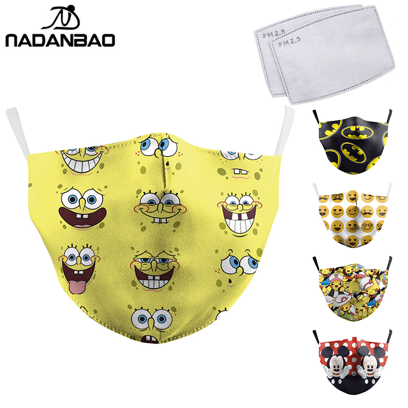 NADANBAO Cute Yellow Bob PM2.5 Kids Mouth Masks Cartoon Print Face Mask Fabric Adult Dust Proof Mouth Cover Women Reusable Mask