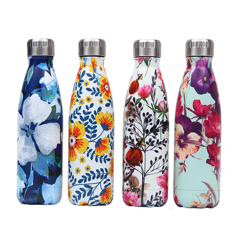 Creative Floral Thermos Flask Stainless Steel Water Bottle Leakproof Gym Sport Drink Bottle For Water Cool Insulated Cup Mug image