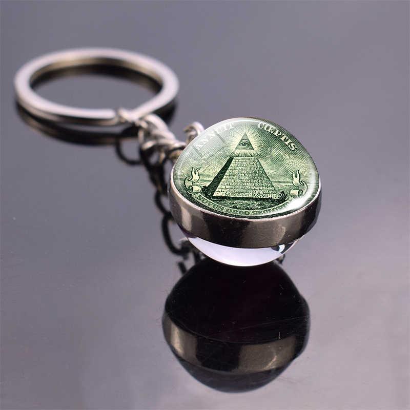 Olho de providence duplo lado bola de vidro chaveiro um dólar moeda chaveiro chaveiro todos os olhos vendo chaveiro chave titular