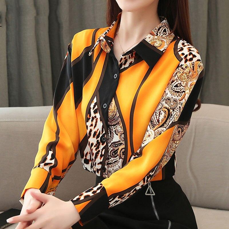 2021 Blouse Women Fashion Chiffon Shirts Women Office Lady Tops Spliced Leopard Blusas Femininas Shirts Leopard Button 8092 50 3