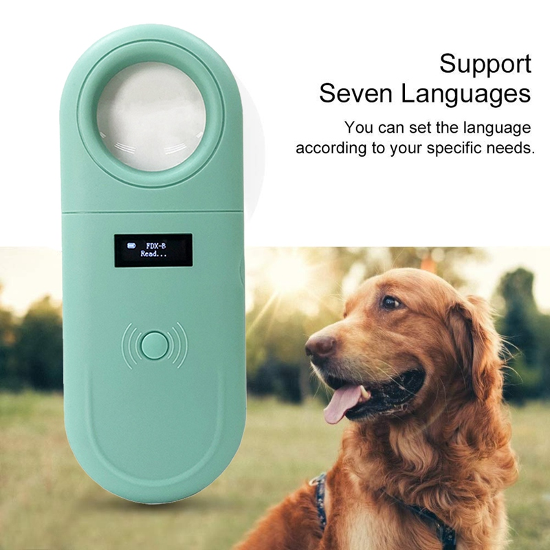Pet Microchip Scanner Handheld Pet ID Reader Portable RFID Reader with LED and Magnifier Function for Dog Cat 134.2Khz
