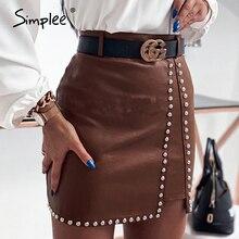 Mini Skirt Simplee Sexy High-Waist Women Lady Rivet for Slim Short Culb-Wear Breasted