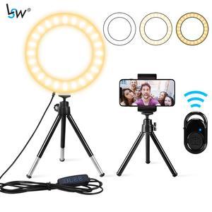 Кольцевая мини-лампа, светодиодный светильник диагональю 6 дюймов, со штативом и держателем для сотового телефона, дистанционным управлени...