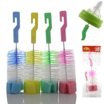 Szczotka do czyszczenia brodawki dla niemowląt butelka mleka kubek gąbka do czyszczenia + szczotka do smoczka 2 szt Szczotka do butelek dla dzieci 360 stopni szczotka do czyszczenia tanie i dobre opinie Z tworzywa sztucznego Scourer 4-6 M 7-9 M 10-12 M Baby Bottle Brushes 2 ładowanie