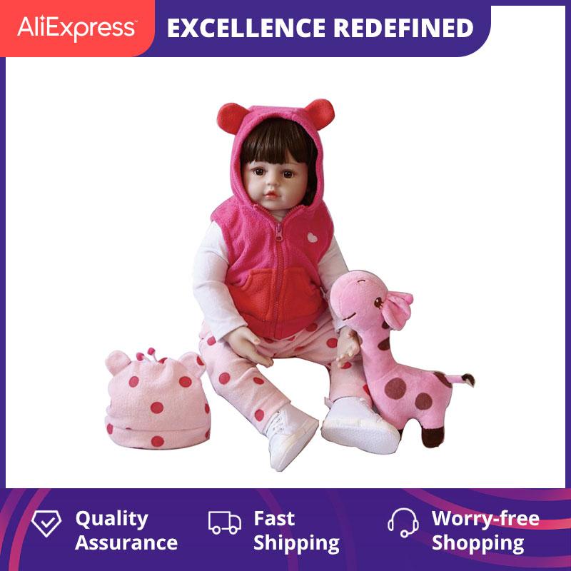 Npk original 47 cm bebê boneca de cabelo encaracolado menina renascer criança silicone macio com corpo algodão realista boneca jogar brinquedos para crianças