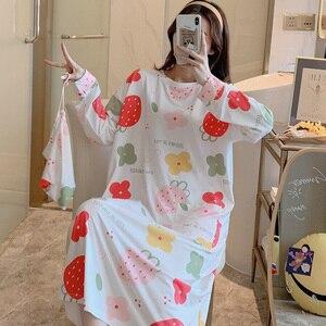 Image 5 - Caiyier冬2020女性寝間着長袖oネックレースネグリジェゆるいカジュアルなスリープシャツ女の子受信バッグホームドレス