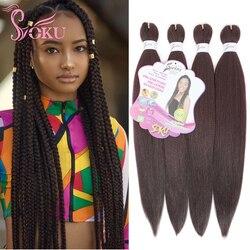 SOKU tressage cheveux pré étiré EZ tresse Yaki droite Extensions de cheveux synthétiques Ombre Crochet boîte tresses cheveux pour les femmes Afro
