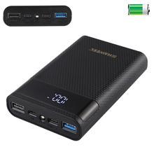 HAWEEL DIY зарядное устройство для аккумулятора, Корпус внешнего аккумулятора (не входит в комплект) с 2 USB выходами и дисплеем, поддержка QC 2,0 мА 4x