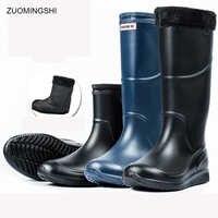 Regen Stiefel Männer bot Winter Angeln Stiefel Arbeit Gleitschutz Gummi Schuhe Warme galoschen Wasserdichte Schuhe Regen Schuhe Schnee Stiefel