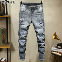 Povote джинсы бренд ретро ностальгический прямые брюки пэчворк брюки мужчины вышивка мотоцикл тенденции дизайна