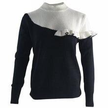 Женский вязаный свитер составного кроя черный или белый Повседневный