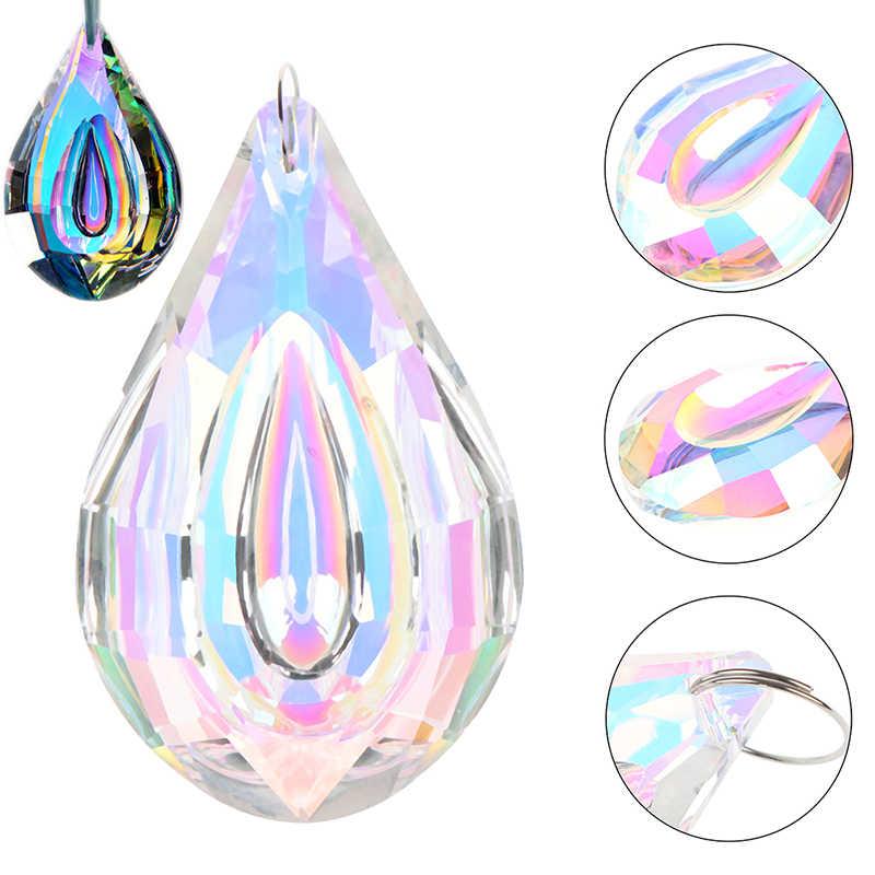 38/63/76Mm Diseduh Sendiri Suncatcher Seni Kaca Tetes Chandelier Pendant Light Bagian Lampu Gantung Prisma Kristal liontin Bagian
