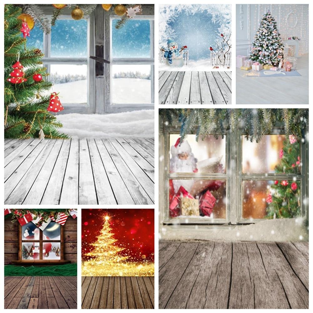 Christmas Tree Window Wood Board Winter Snow Backdrop Vinyl Baby Portrait Photography Background For Photo Studio Photophone