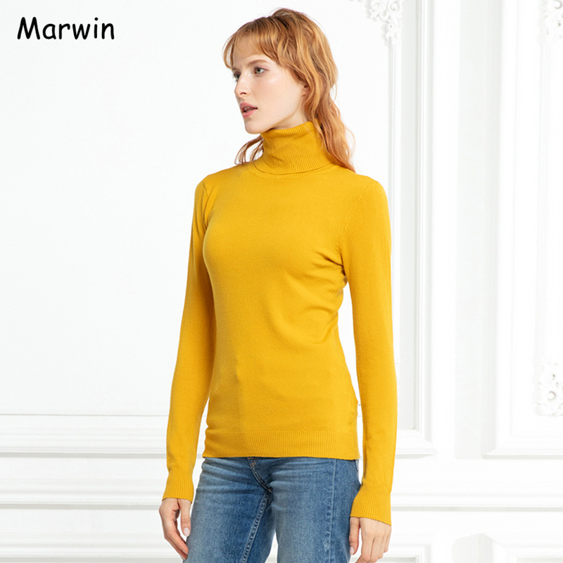 Marwin 2019 New-Coming Autumn Winter Solid Casual Turn-down Collar Pullovers Female Thick Turtleneck Knitted Women Sweater