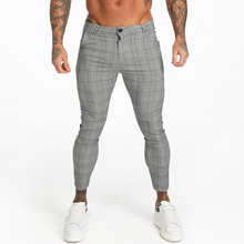 Gingtto Mens Chinos Slim Fit Men Skinny Chino Pants Grey Ankle Length Super Stretch 2019 Casual Pant Designer Plaid zm356