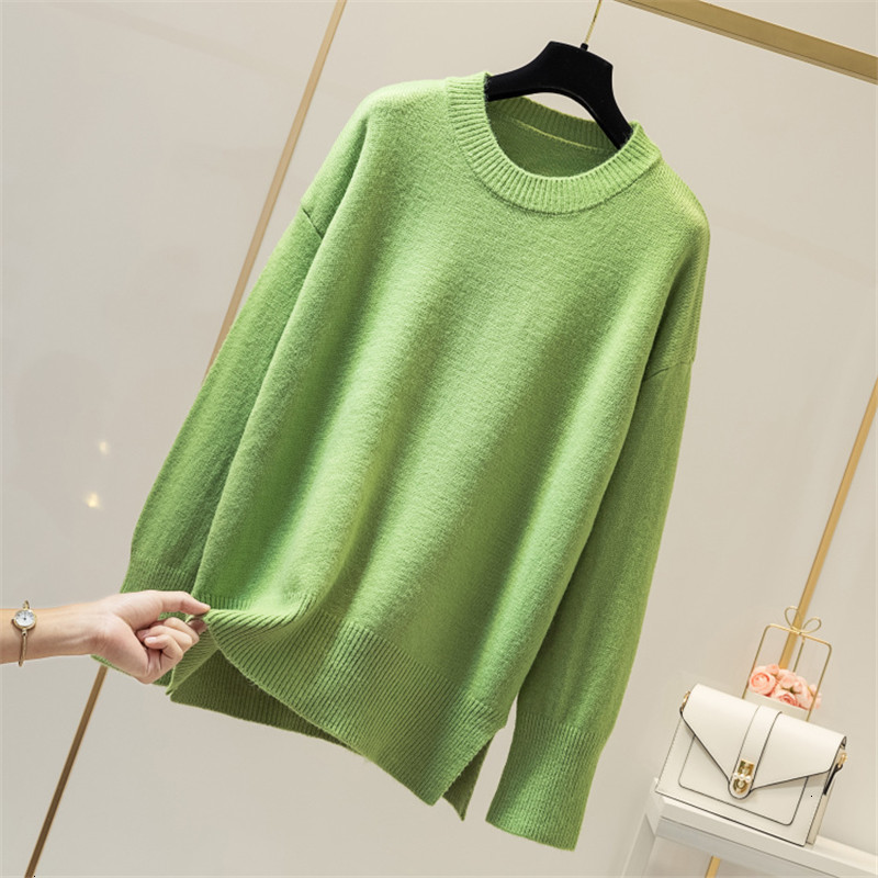 Five Colors O-Neck Casual Jumper Solid Loose Fashion Winter Women Pull Femme Knitted   Sweater Pullover New 2019 Female