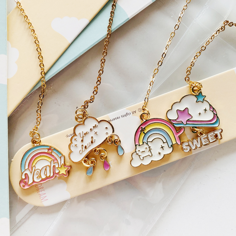 1PC Kawaii Rainbow And Cloud Metal Chain Pendant Bookmark Marker Of Page School Office Supply Student Stationery Gift