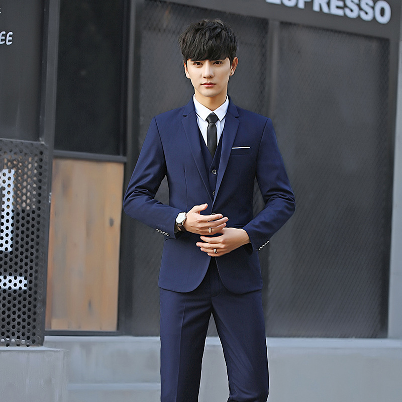 Suit-Set Three-Piece-Set Formal-Dress Groom Slim-Fit Business Marriage MEN'S Group Going-To-Work title=