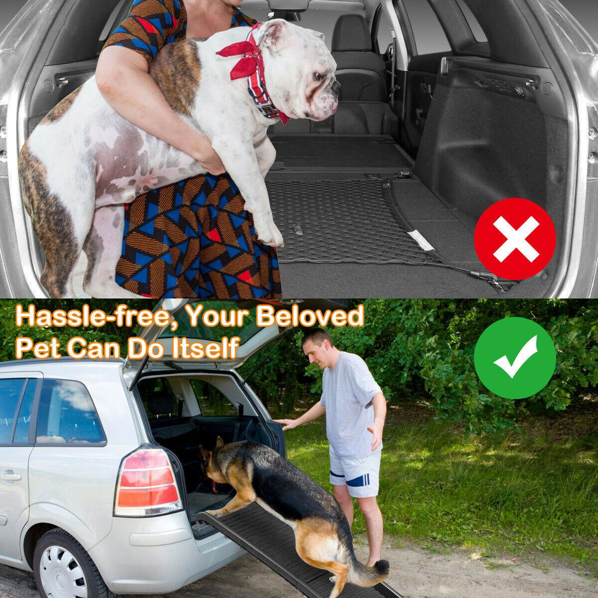 61 Folding Portable Lightweight Non Slip Dog Cat Pet Ramp High Traction Non Slip Rubberized Walking Surface Pet Ramp Dog Doors Ramps Aliexpress